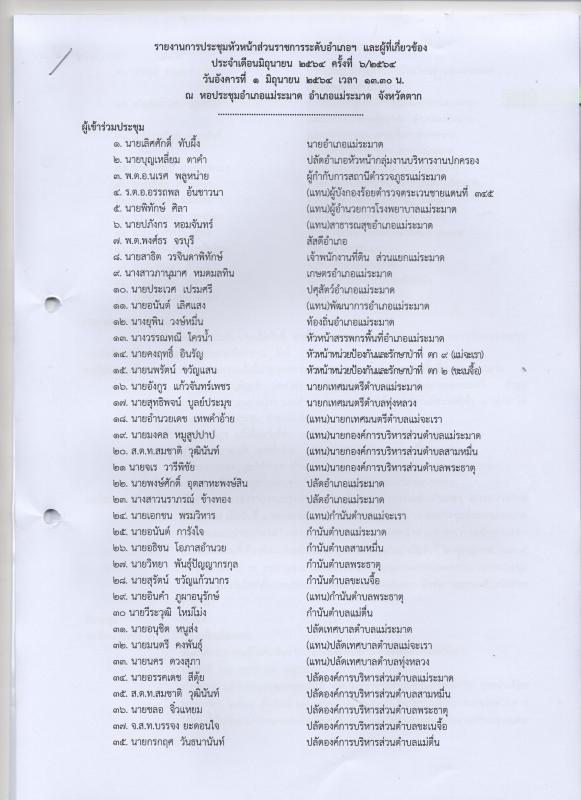 รายงานการประชุมหัวหน้าส่วนราชการระดับอำเภอฯ และผู้เกี่ยวข้อง  ประจำเดือนมิถุนายน  2564 ครั้งที่ 6/2564